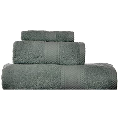 Laura Ashley Leyton Zero Twist 3-Piece Bath Towel Set, Sage