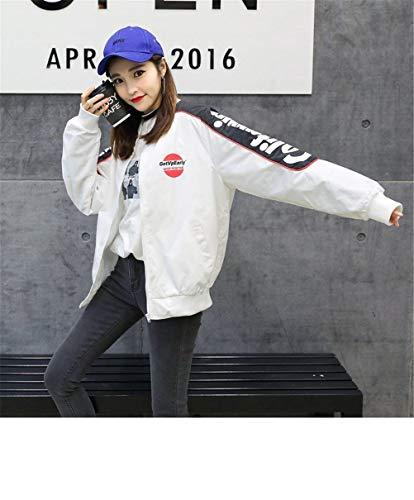Maniche Pilot Bianca Casual Donna Semplice Giacca Autunno Glamorous Fashion Ragazze Bomber College Lunghe Digitale Outerwear Stampate Zip Cappotto xxITF6