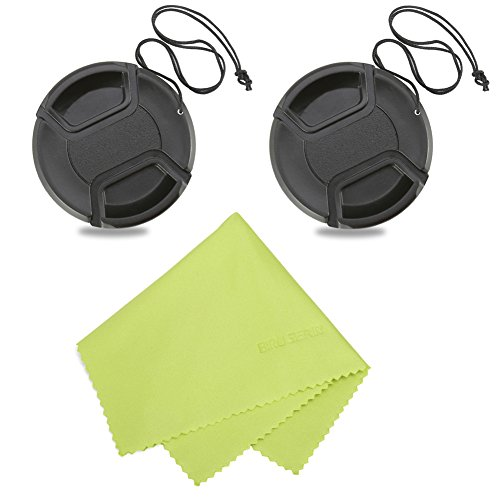 Birugear 58Mm Center Pinch Snap On Lens Cap For Canon Nikon Sony Pentax Samsung And Other Dslr Camera Lens With 58Mm Filter Thread  Pack Of 2 With Microfiber Cleaning Cloth