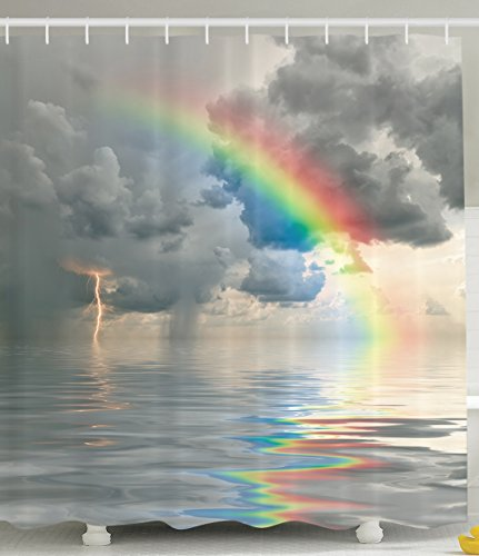 Gray Shower Curtain Ombre in Nature Art Prints Clouds Rainbow Colors on a Rainy Day Ocean Stormy Seas Prints Painting Thunder Decorations and Bathroom Decor Fabric Seascape Red Yellow Blue
