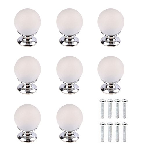 Pack of 8 Frosted Glass Crystal Knobs and Pulls Knobs Handles for Kitchen Furniture Door Drawer Cabinet Dresser Closet Wardrobe Cupboard Bathroom (Cabinet Drawer Frosted Knobs)