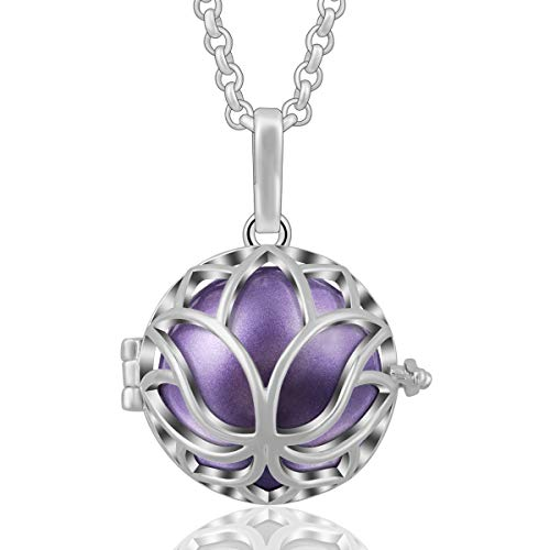 AEONSLOVE Lotus Flower Harmony Bola Chiming Bell Pendant Necklaces with 30'' Chain, Best Jewelry Gifts (Lavender) ()