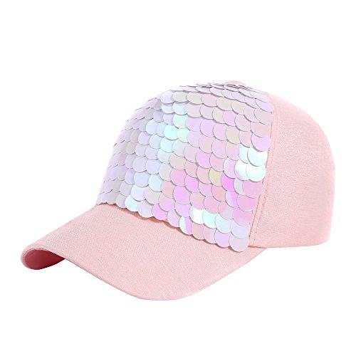 - Yezijin Unisex Sequins Patchwork Mesh Cap Fashion Baseball Cap Outdoor Net Sun Hat (S-Pink)