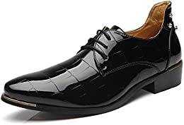 Men's Modern Lace-up Oxfords Classic Wingtip Patent Leather Shoes Fashion Tuxedo Wedding Dress Shoes