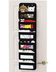 SimpleHouseware Over The Door Hanging Organizer Storage for Baby Stuff, Black, 6 Clear Window Pocket