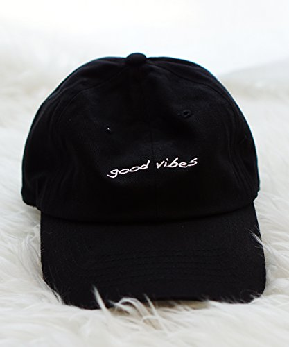 Good Vibes Black Dad Cap Unisex Adjustable Strapback Baseball Cap Hipster