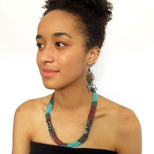 African Zulu beaded short necklace – Bronze and Turquoise - Gift for her