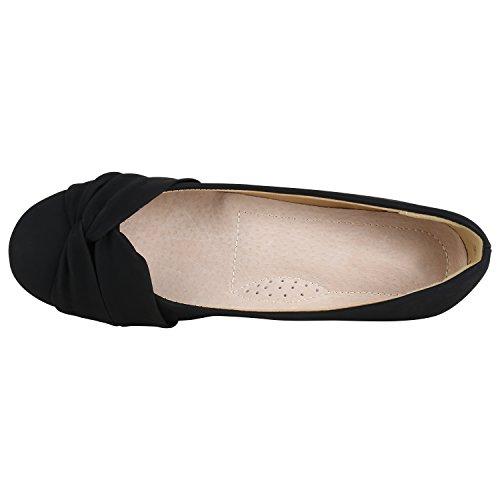 Stiefelparadies Damen Ballerinas Schleifen Klassische Ballerina Schuhe Strass Flats Metallic Übergrößen Gr. 36-44 Flandell Schwarz Camiri