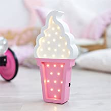 Ice Cream Wooden LED Marquee Light by LiCheng Brial,Battery Powered Wooden Decorative Table Lamps for Nursery Decor,Kid's Room,Home Decor&Gifts Pink