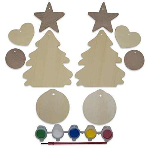 (10 Blank Unfinished Wooden Christmas Tree, Heart, Ball & Star Ornament Cut Outs)