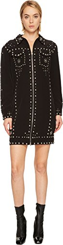 Jeremy Scott Women's Studded Crepe Moto Dress Black - Jeremy Womens Scott