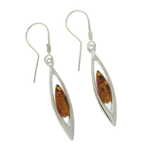 Earrings Nova Silver Classic Amber Ark Cognac Amber Earrings  Parallel Import Goods