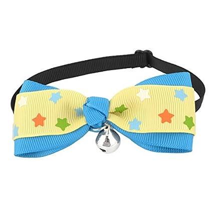 eDealMax Patrón Estrella Perro de Bell decoración de Bowtie Ajustable, tamaño Libre, Azul
