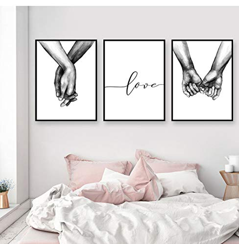 Karen Max Nordic Poster Black and White Holding Hands Canvas Prints Lover Quote Wall Picture Minimalist Decor Gifts ()