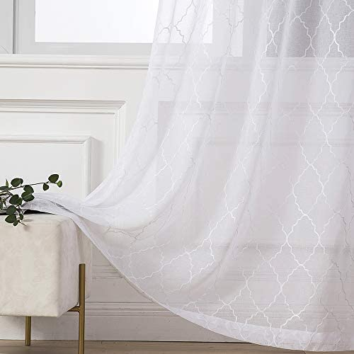 MIULEE White Semi Sheer Curtains with Embroidered Moroccan Tile Print for Bedroom Living Room Grommet Linen Textured Window Drapes for Light Filtering 2 Panels W 54 x L 96 Inches