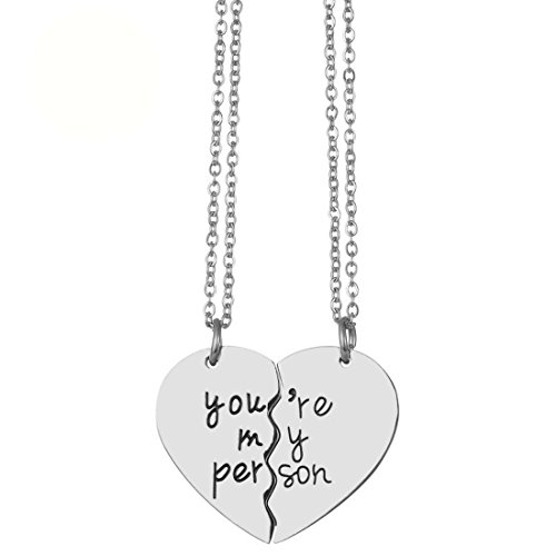 JJTZX You are My Person Grey's Anatomy Inspired Charm Expandable Wire Bangle Bracelet Puzzle Piece Keychains (Necklace ()