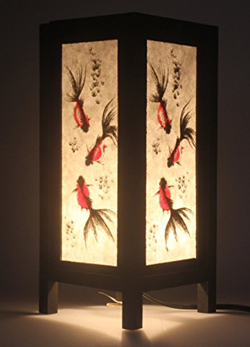 Japanese Goldfish Vintage Chiang Mai Thai Saa Paper Lantern Table Lamp (Goldfish Lamp)