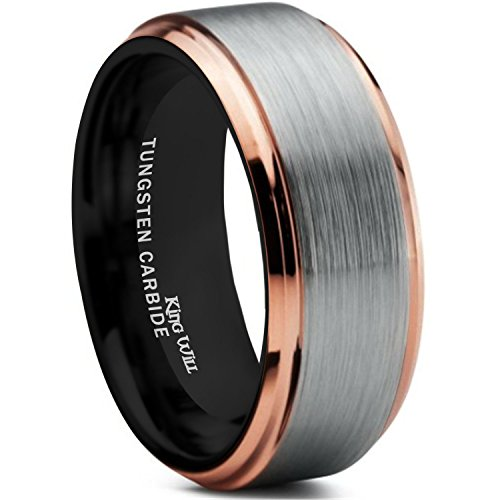 King Will Mens 8mm Brushed Finish Tungsten Carbide Ring 18K Rose Gold Plated Comfort Fit Wedding Band Black Inside - Wedding Tuscan Rings