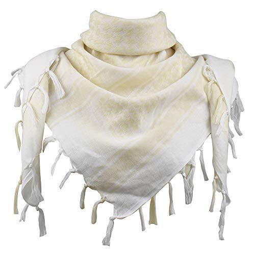 (Explore Land Cotton Shemagh Tactical Desert Scarf Wrap (White and Tan))