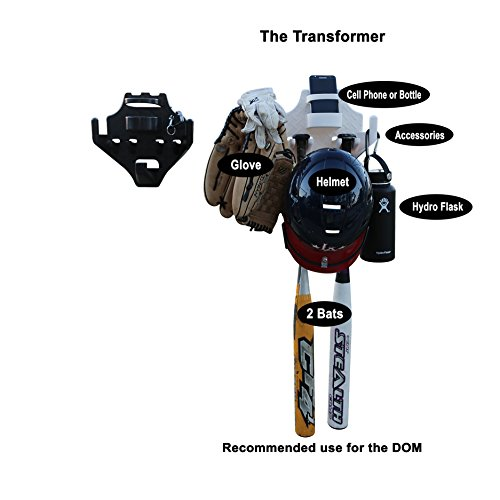 Dugout organizer for Softball & Baseball Gear Hanger for Bat, Glove, Helmet and bottle of water- The DOM Transformer (10 count) by THE DOM