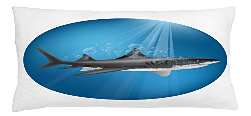 Shark Throw Pillow Cushion Cover by Ambesonne, Shark in Sea with Sun Rays in Circle Aquatic Underwater Creature Predator Adventure, Decorative Square Accent Pillow Case, 36 X 16 Inches, Blue Grey