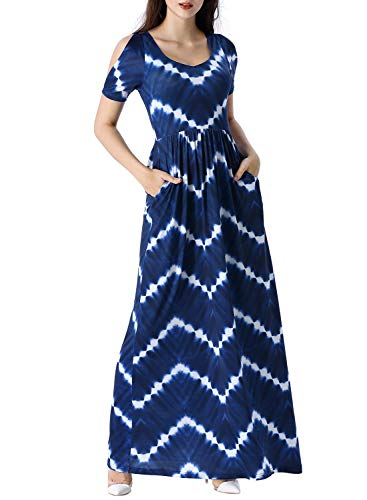 VFSHOW Womens Blue Chevron Zig Zag Striped Print Cold Shoulder Pockets Pleated Loose Plain Formal Casual Beach Party Maxi A-Line Dress Z3038 DBLU XS ()