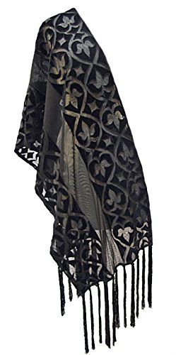 ''Alaina'' Appliqued Velvet Net Scarf Stole Shawl Wrap with Hand Knotted Fringe Black by Steel Paisley