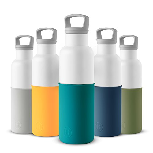HYDY Vacuum Insulated Thermal Water Bottle 20 oz - BPA Free Stainless Steel - Eco Friendly - Ideal for Exercise, the Office and Travel - Modern Stylish Urban Design (WHITE- DARK CYAN)