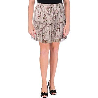 Karina Grimaldi Womens Carola Ruffled Floral Print Mini Skirt