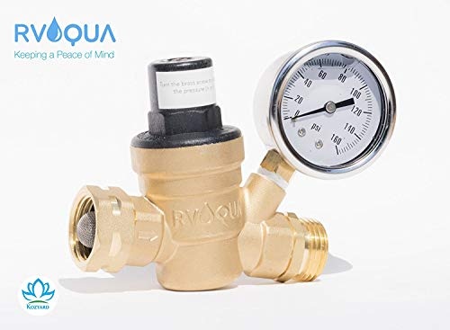 RVAQUA M11-45PSI Water Pressure Regulator for RV Camper - Brass Lead-Free Adjustable RV Water Pressure Reducer with 160 PSI Gauge and Inlet Stainless Screened Filter (Full Steel Spool)