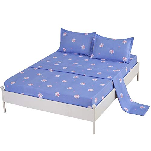 SDIII 3PC Dog Footprints Bedding Sheet Sets Twin Size Blue Color Animal Bed Sheets with Flat Fitted Sheet for Boys, Girls and Teens (Sheet Dog Set)
