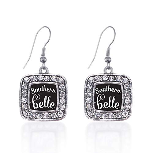 Inspired Silver - Southern Belle Charm Earrings for Women - Silver Square Charm French Hook Drop Earrings with Cubic Zirconia Jewelry