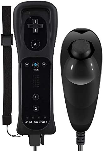 Wii Motion Plus Controller, Uniway Wireless Wii Remote Controller and Nunchuck Joystick with Build-in Motion Plus Silicone Case and Wrist Strap for Nintendo Wii/Wii U -Black