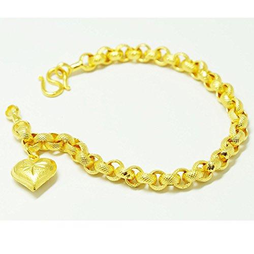 22k Yellow Gold Bangles (Heart Bracelets Bangle 18k 22k 23k 24k Thai Baht Yellow Gold Plated)