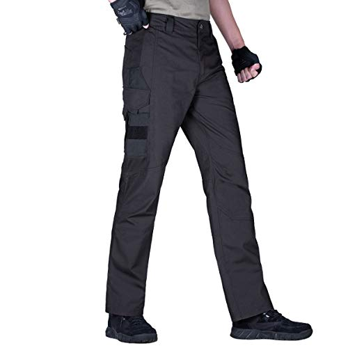 FREE SOLDIER Men's Tactical Pants Lightweight Water-Resistant Durable Cargo Pants Outdoor Hiking Fishing Duty Pants Multi-Pockets Pants(Black 36W)
