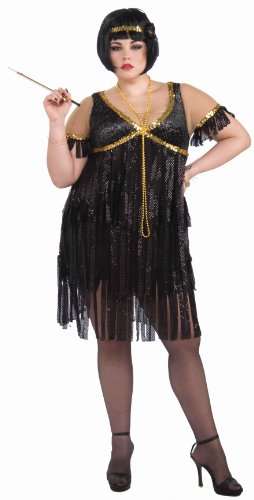 Forum Novelties Plus-Size Roaring 20's Sequin Flapper Dress and Headband, Black/Gold, Plus Size Costume]()