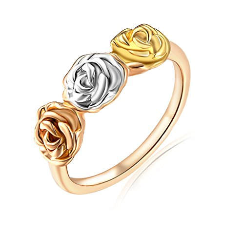 [BBX JEWELRY 18K Gold-Plated Tri-Color Rose Flower Anniversary Promise Engagement Rings for Women,Size] (Hobbit Costume Ideas)