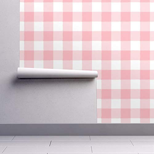 Peel-and-Stick Removable Wallpaper - Large Buffalo Check Large Gingham Pink Gingham Pink Plaid Buffalo by Sugarfresh - 24in x 60in Woven Textured Peel-and-Stick Removable Wallpaper Roll