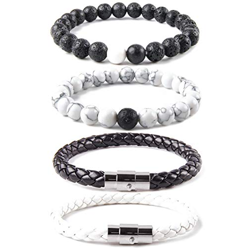 Elejolie 4 Pcs Bead Bracelet for Men Women Distance Braided Leather Cuff Wrap Stone Beaded Bracelets Set Black and White 8 inches