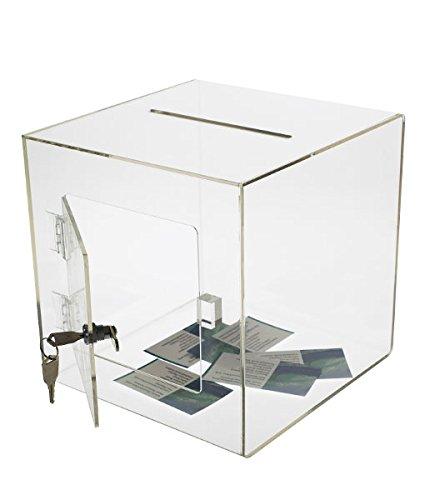 Source One Medium Premium Clear Acrylic Ballot Box Donation Box Cube (10 inch)