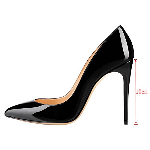 Merumote Dames Gradiënt Puntschoen Stiletto Hoge Hak Lakleer Elegante Jurk Partij Pumps Zwart-patent