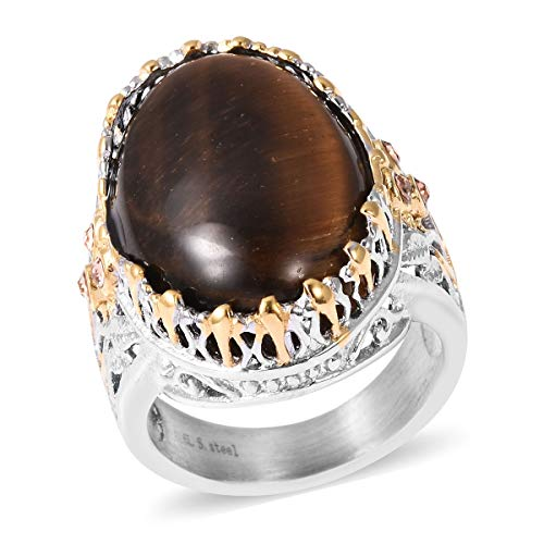 Stainless Steel ION Plated Oval Tigers Eye Champagne Color Crystal Statement Ring for Women Size 8