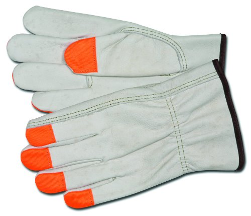 MCR Safety 3213MCHVSP Grain Cow Full Leather Driver Industry Grade Men's Gloves with High Visibility Orange Fingertips and Keystone Thumb, Cream, Medium, 1-Pair