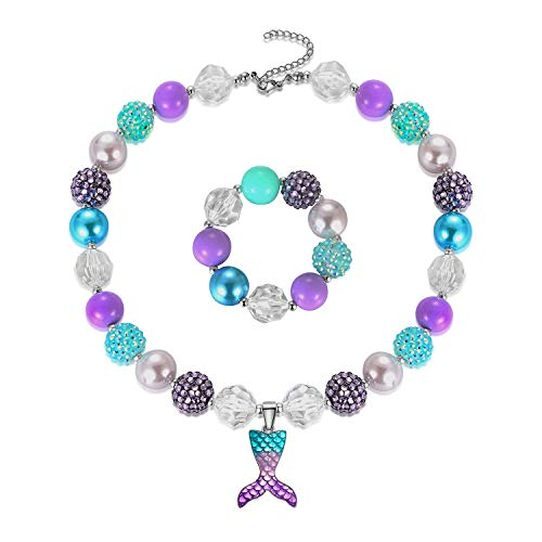 Mermaid Pendant Necklace Bubblegum Toddler Sparkly Bead Necklace & Bracelet Jewelry Set for Kids First Birthday Gifts