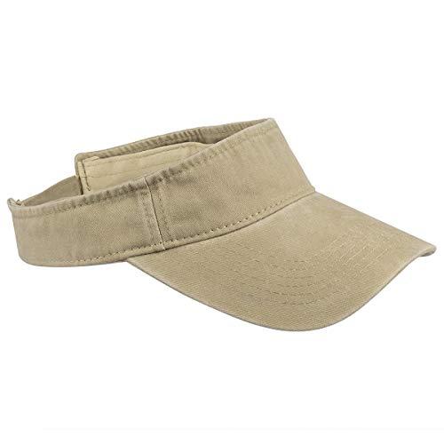 Sportmusies Cotton Denim Sun Visor Cap for Men and Women, Adjustable Tennis Running Hat for Unisex Khaki