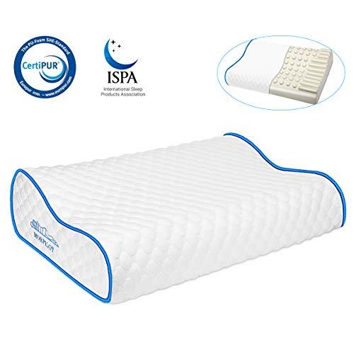 morpilot Cuscino Cervicale Memory (50 x 30 cm x 8/11 cm) Cuscino Antiacaro, Guanciale Cuscino Letto in Memory Foam Cuscino Ergonomico per Dolori a Collo e Cervicali Tessuto Protettivo in 100% Cotone