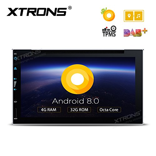 XTRONS 6.95 Inch Android 8.0 Octa Core 4G RAM 32G ROM HD Digital Multi-touch Screen Car Stereo DVD GPS Radio OBD2 Wifi DVR TPMS Double 2 Din by XTRONS