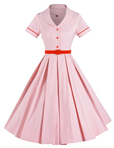 GownTown-Womens-Classy-Vintage-1940s-Short-Sleeves-Rockabilly-Swing-Evening-Dress