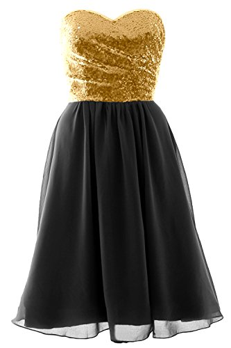 Black Elegant Strapless MACloth Formal Sequin Dress Short Gown Gold Chiffon Bridesmaid 6Swqv