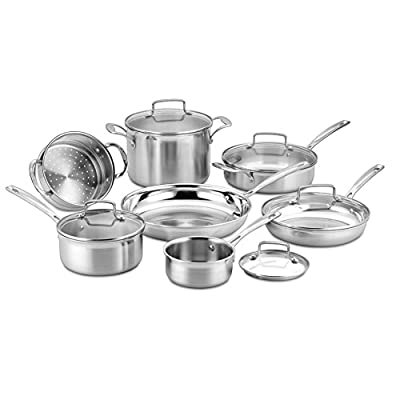 Cuisinart 12 Piece Tri-Ply Cookware Set, Multi, Stainless Steel
